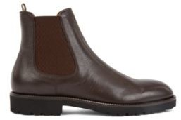 HUGO BOSS Italian Made Chelsea Boots In Leather With Monogram Panels - Dark Brown