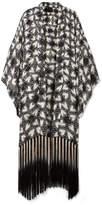 Anna Sui Chasing Hearts Fringed Metallic Fil Coupé Silk-blend Chiffon Kimono - Black
