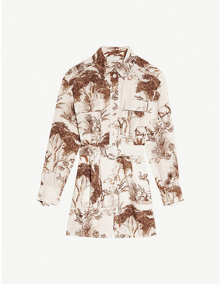 Sandro Jaine graphic-print crepe playsuit