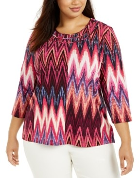Alfred Dunner Plus Size Bright Idea Ikat-Print Top