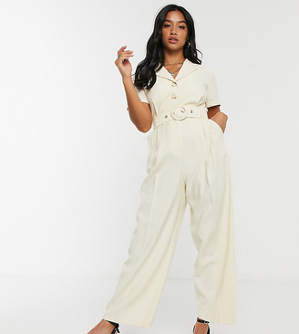 Topshop Petite belted jumpsuit in cream