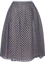 Michael Kors Pleated Broderie Anglaise Midi Skirt