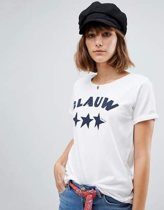 Maison Scotch Blauw Print T-Shirt-White