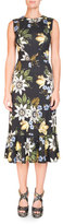 Erdem Sleeveless Floral Ruffle-Hem Dress