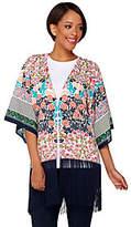 C. Wonder Engineered Print Kimono with Fringe Hem