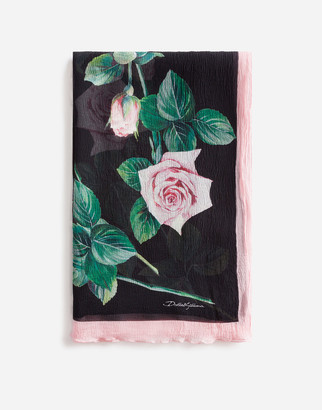 Dolce & Gabbana Tropical Rose Print Silk Scarf 120 X 200