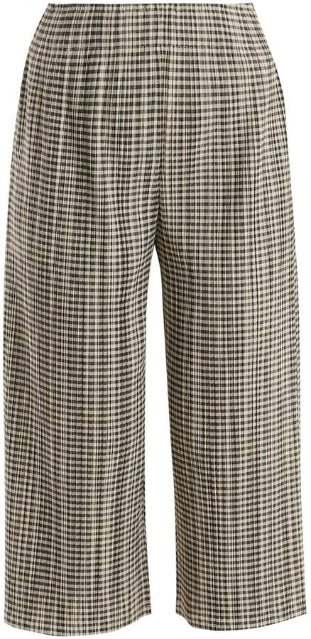 Pleats Please Issey Miyake Gingham pleated cropped trousers
