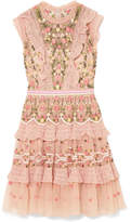 Needle & Thread Tiered Embroidered Tulle Dress - Blush