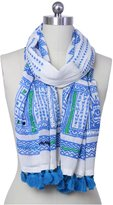 Saachi Embroidered Village Print Scarf, Blues - Blue