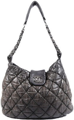 Chanel Grey Quilted Leather Large Bubble Hobo Bag