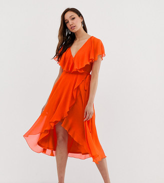 Asos Tall DESIGN Tall cape back dipped hem midi dress-Orange