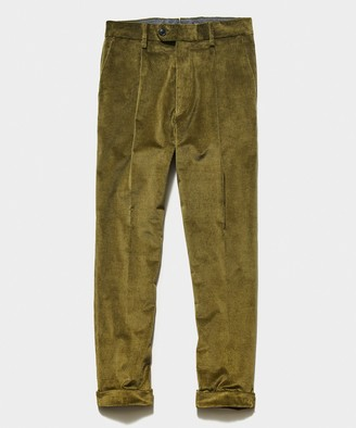 Todd Snyder Italian Pleated Cord Trouser in Olive
