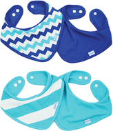 Bumkins Blue Chevron & Stripe Bandana Bib - Set of Four