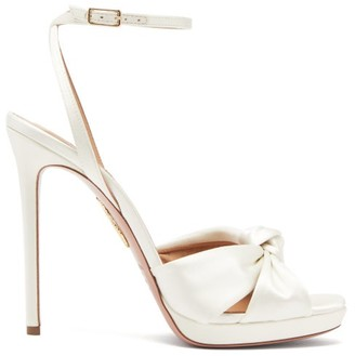 Aquazzura Chance Knotted Satin Sandals - Ivory