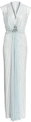 Jenny Packham Amelie Embellished V-Neck Draped Gown