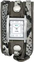 La Mer Women's LMLW4045 Cement Snake Silver Layered Wrap Watch