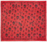 Alexander McQueen Red Romantic Weeds and Skull Pashmina Scarf