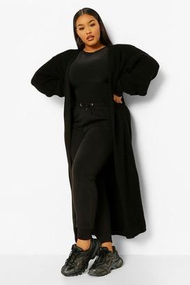 boohoo Plus Knitted Long Line Maxi Cardigan