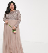 Maya Plus Bridesmaid long sleeve v back maxi tulle dress with tonal delicate sequin overlay in taupe blush