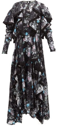 Preen by Thornton Bregazzi Liza Ruffled Floral Satin-devore Dress - Black Multi