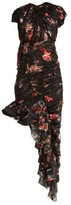 Preen by Thornton Bregazzi Ginny Gathered Silk-blend Chiffon Dress - Womens - Black Multi