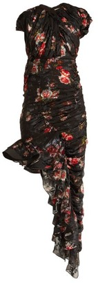 Preen by Thornton Bregazzi Ginny Gathered Silk-blend Chiffon Dress - Black Multi
