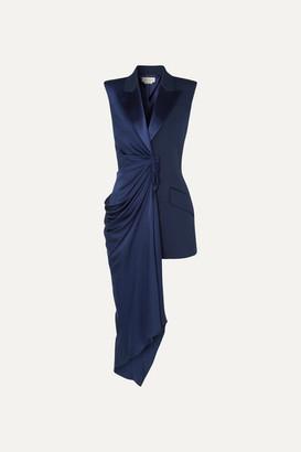 Alexander McQueen Asymmetric Draped Satin And Grain De Poudre Wool-blend Vest - Blue