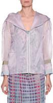 Emporio Armani Silk Organza Zip-Front Hooded Anorak Jacket