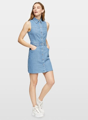 Miss Selfridge Blue Mid Wash Denim Sleeveless Shirt Dress