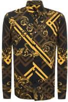 Versace Jeans Long Sleeved Printed Shirt Black