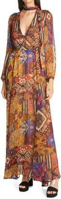 le superbe Joni Tie Neck Long Sleeve Maxi Dress