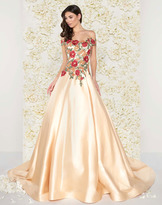 Mac Duggal Couture - 66185D Off Shoulder Floral Embroidered Satin Gown