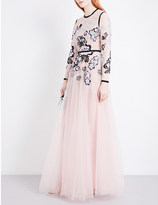 Elie Saab Embroidered lace and mesh gown