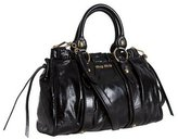 Black Shined Leather Pleated Satchel