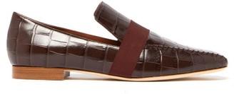Malone Souliers X Roksanda Chiara Crocodile-effect Leather Loafers - Womens - Burgundy