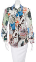 Carven Long Sleeve Silk Button-Up