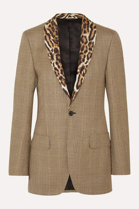 R 13 Leopard-print Voile-trimmed Prince Of Wales Checked Wool Blazer - Brown