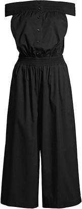 Donna Karan Smocked Off-The-Shoulder Jumpsuit