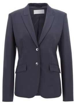 HUGO BOSS Stretch Wool Blazer With Peak Lapels - Dark Blue