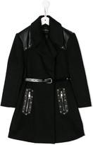 Stud-Detail Belted Coat