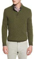 Ermenegildo Zegna Yak Mock-Neck Button Sweater, Green