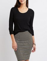 Charlotte Russe Ribbed Scoop Neck Skimmer Tee
