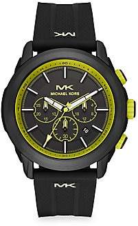 Michael Kors Women's Kyle Black Stainless Steel & Silicone Strap Chronograph Watch