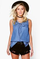 Boohoo Lisa Denim Lace Up Front Sleeveless Swing Top
