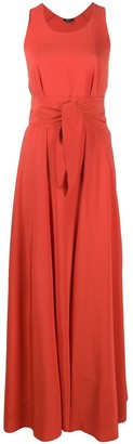 Aspesi Flared Tie-Waist Maxi Dress