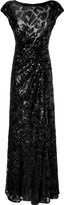 Elie Saab Black Draped Sequined Gown