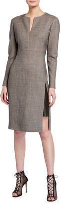 Akris Long-Sleeve Slit-Neck Suiting Dress