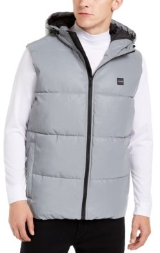 Calvin Klein Men's Reflective Hooded Puffer Vest