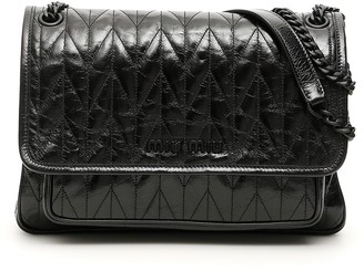 Miu Miu Quilted Foldover Logo Shoulder Bag