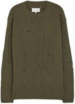 Maison Margiela Army Green Laddered Wool Jumper